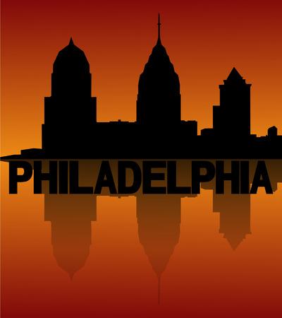 philadelphia: Philadelphia skyline reflected at sunset vector illustration