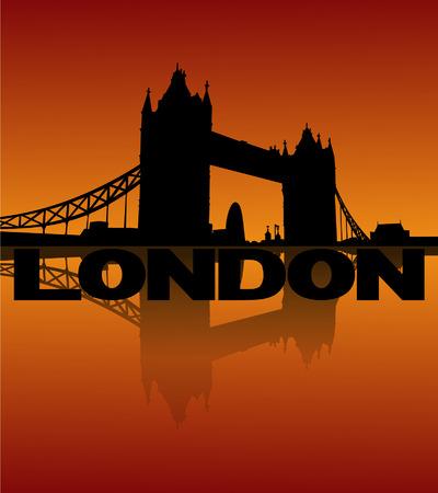 tower bridge: Tower Bridge London reflected at sunset vector illustration