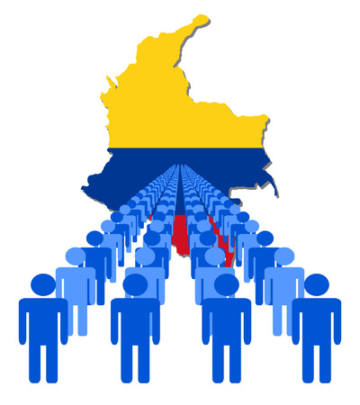 multitude: Lines of people with Colombia map flag vector illustration