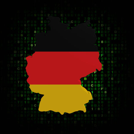 hex: Germany map flag on hex code illustration Stock Photo