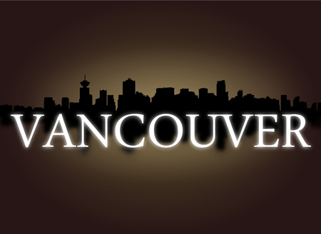 dramatic sky: Vancouver skyline reflected with dramatic sky and text illustration