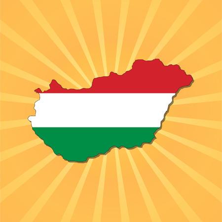 Hungary map flag on sunburst illustration Vector