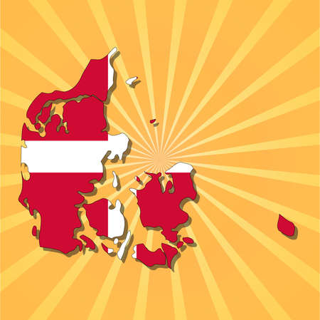 Denmark map flag on sunburst illustration Vector