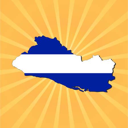 mapa de el salvador: El Salvador bandera de mapa de rayos de sol ilustraci�n