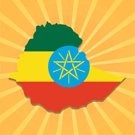 ethiopia abstract: Ethiopia map flag on sunburst illustration