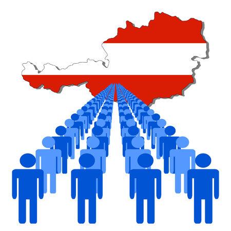 multitude: L�neas de las personas con Austria ilustraci�n de la bandera Vectores