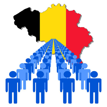 Lines of people with Belgium map flag illustration Vector