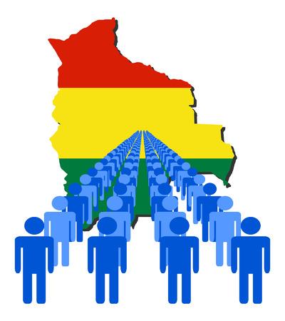 multitude: L�neas de las personas con Bolivia ilustraci�n de la bandera
