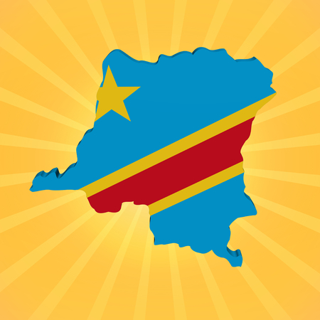 Democratic Republic of Congo map flag on sunburst illustration illustration