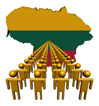 multitude: Lines of people with Lithuania map flag illustration Stock Photo
