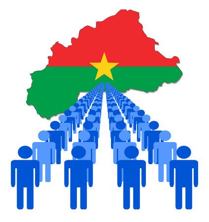 burkina faso: Lines of people with Burkina Faso map flag vector illustration Illustration