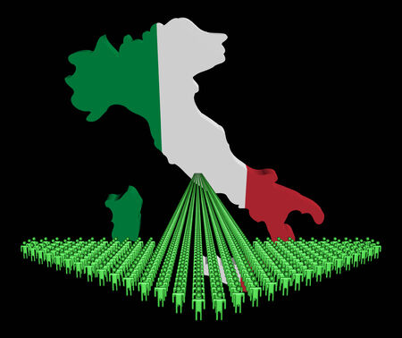 emigration: Arrow of people with Italy map flag illustration