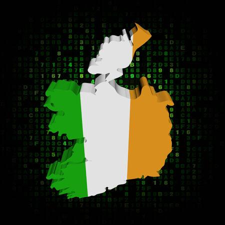 hex: Ireland map flag on hex code illustration