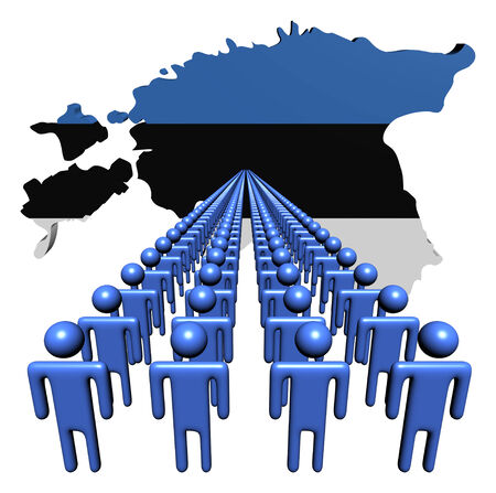 multitude: Lines of people with Estonia map flag illustration