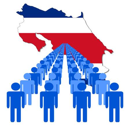 multitude: L�neas de las personas con Costa Rica ilustraci�n de bandera de mapa vectorial Vectores