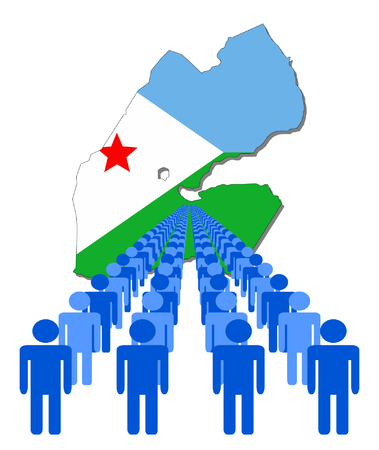 Lines of people with Djibouti map flag vector illustration Vector