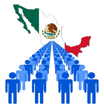 multitude: L�neas de personas con M�xico ilustraci�n vectorial de bandera de mapa