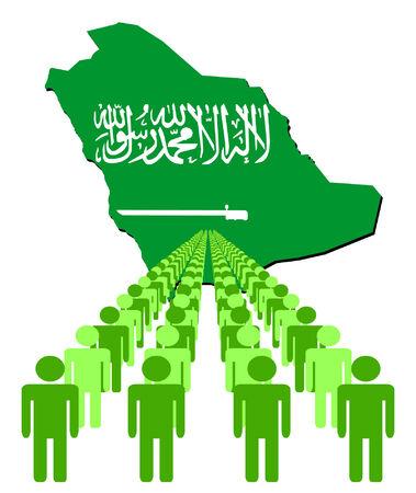 multitude: L�neas de las personas con Arabia Saudita ilustraci�n de bandera de mapa vectorial