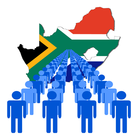 Lines of people with South Africa map flag vector illustration Vector