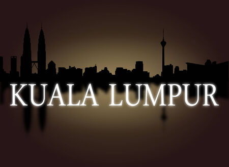 dramatic sky: Kuala Lumpur skyline reflected with dramatic sky and text illustration