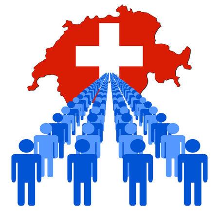multitude: L�neas de personas con Suiza ilustraci�n de la bandera