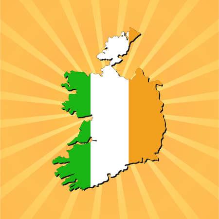 irish map: Ireland map flag on sunburst illustration
