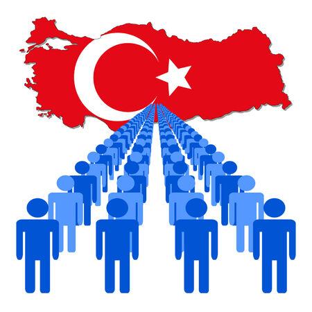multitude: L�neas de personas con Turqu�a ilustraci�n de la bandera Vectores