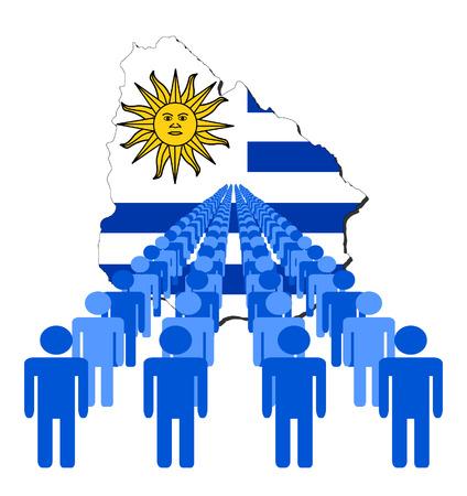 multitude: L�neas de las personas con Uruguay ilustraci�n de la bandera