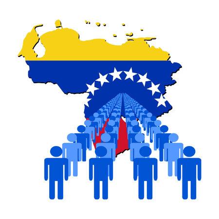 venezuelan: L�neas de las personas con Venezuela ilustraci�n de la bandera