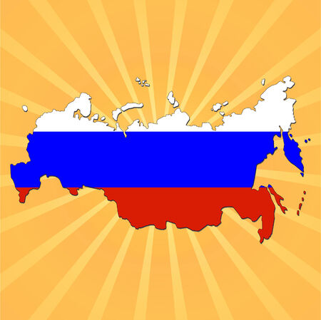 federation: Russian Federation map flag on sunburst illustration
