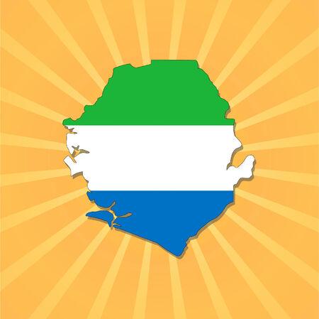 Sierra Leone map flag on sunburst illustration