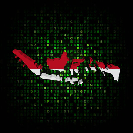 hex: Indonesia map flag on hex code illustration Stock Photo