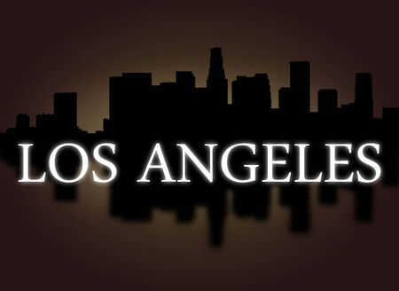 dramatic sky: Los Angeles skyline reflected with dramatic sky and text illustration  Stock Photo