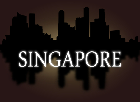 dramatic sky: Singapore skyline reflected with dramatic sky and text illustration