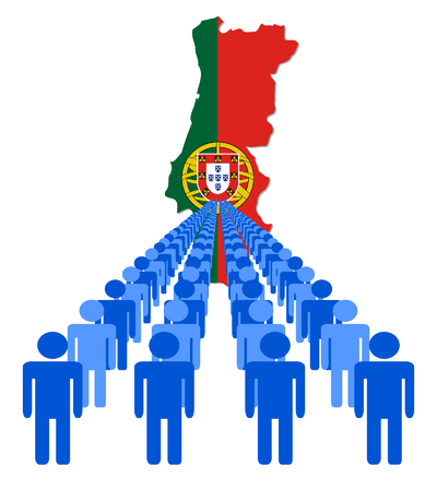 multitude: Lines of people with Portugal map flag vector illustration Illustration