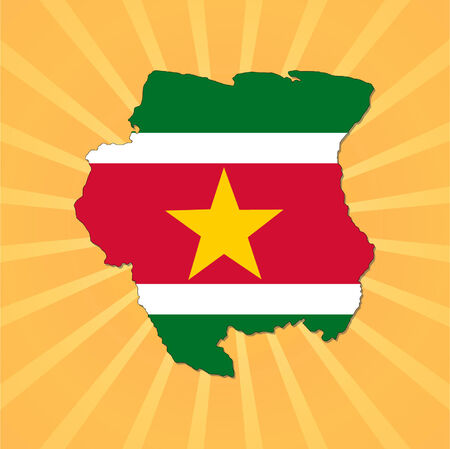 suriname: Suriname map flag on sunburst vector illustration  Illustration