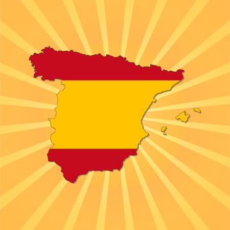 spain map: Spagna Mappa bandiera raggera illustrazione vettoriale Vettoriali