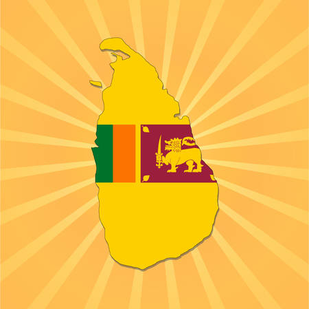 Sri Lanka map flag on sunburst vector illustration  Vector