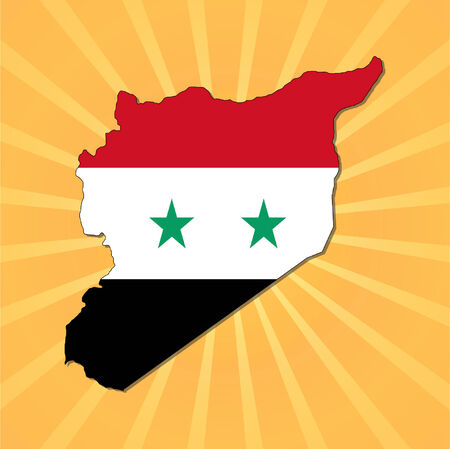 Syria map flag on sunburst vector illustration  Vector