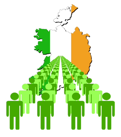 multitude: Lines of people with Ireland map flag vector illustration Illustration