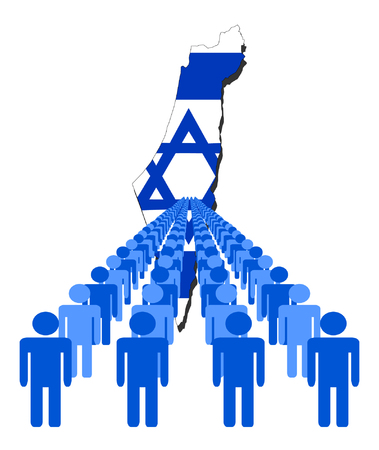 israel people: Lines of people with Israel map flag vector illustration