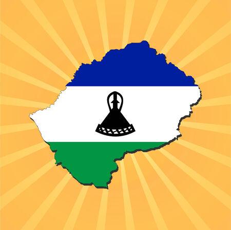 lesotho: Lesotho map flag on sunburst illustration Illustration