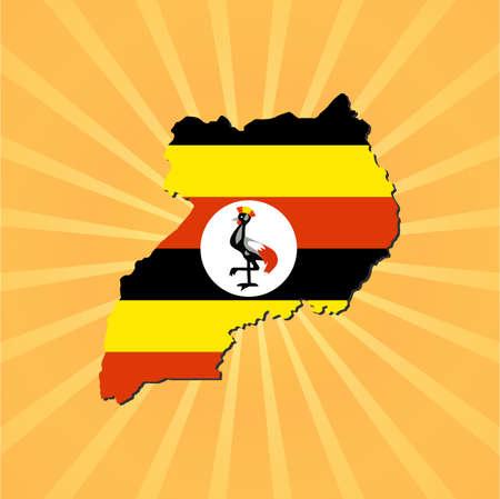 uganda: Uganda map flag on sunburst illustration Illustration