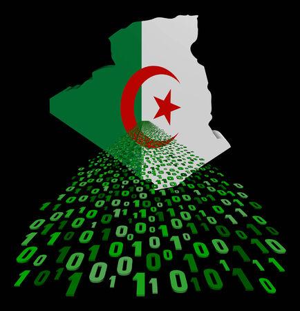 algerian flag: Algeria map flag with binary foreground illustration Stock Photo