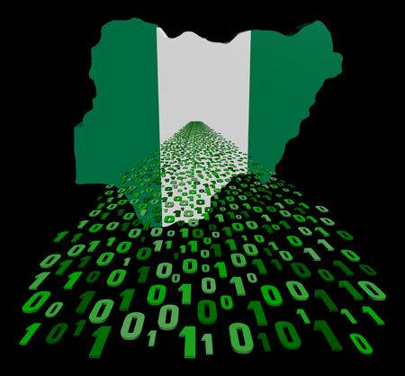 Nigeria map flag with binary foreground illustration illustration
