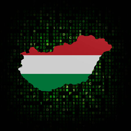 hex: Hungary map flag on hex code illustration Stock Photo