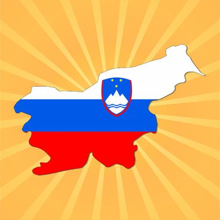 slovakian: Slovakia map flag on sunburst illustration