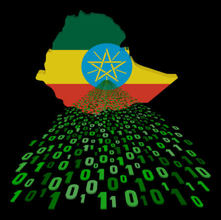 ethiopia abstract: Ethiopia map flag with binary foreground illustration