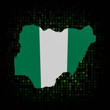 Nigeria map flag on hex code illustration illustration