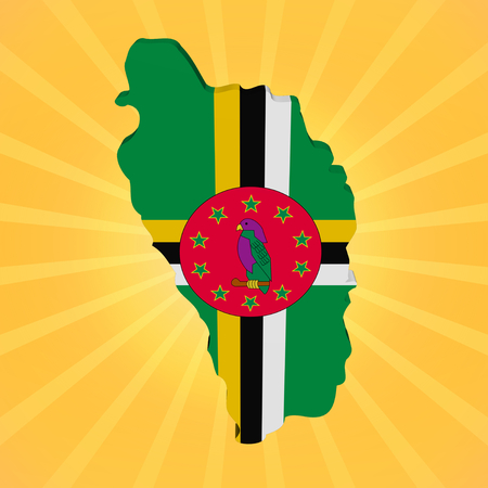 Dominica map flag on sunburst illustration illustration